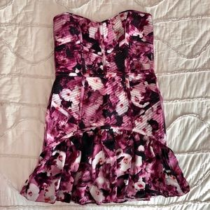 Silk Floral Strapless Dress